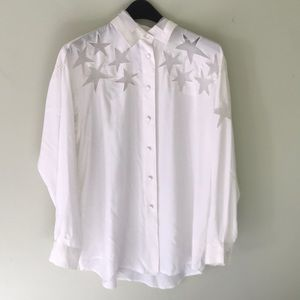White collared shirt with sheer star detail